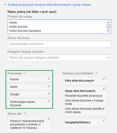 kierowanie wGoogle AdWords