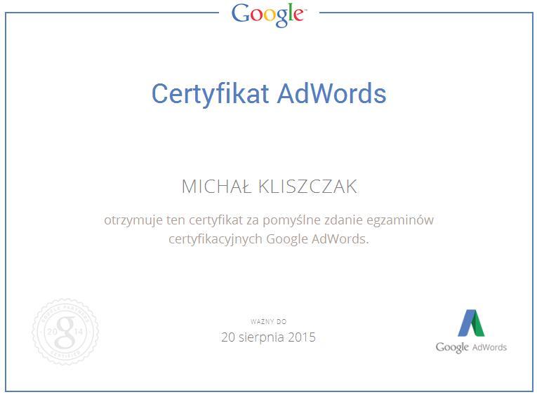 Certyfiakt AdWords Michał Kliszczak