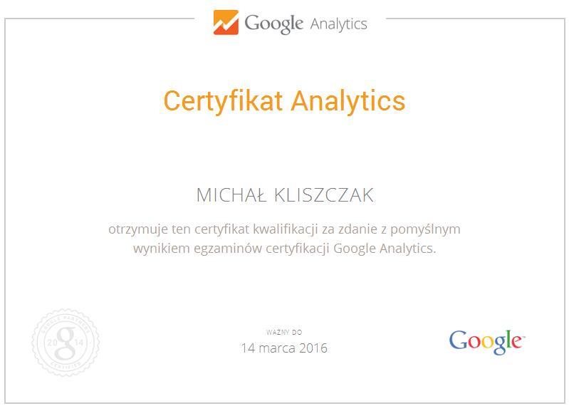 Certyfikat Analytics MK