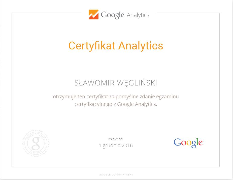 Certyfikat Google Analytics SW