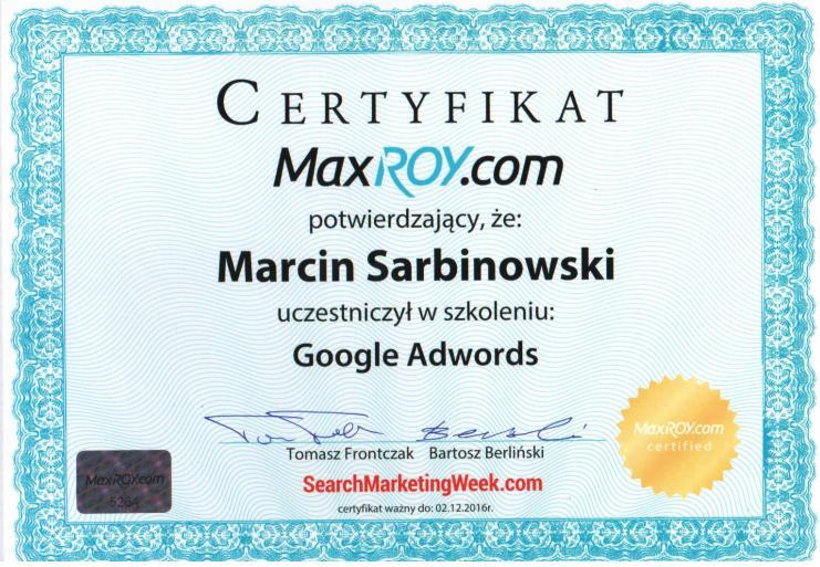 Certyfikat Marcin S.