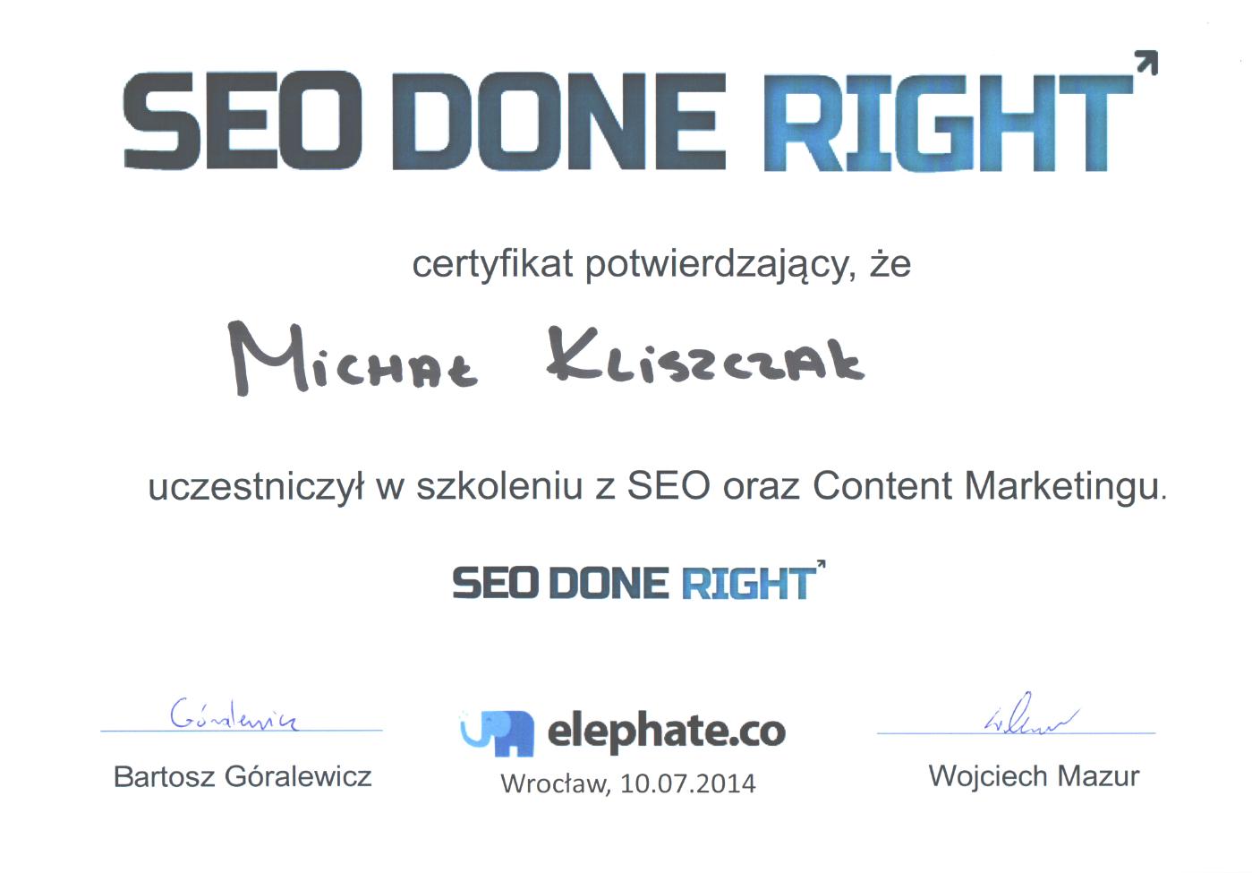 certyfikat Michał Kliszczak