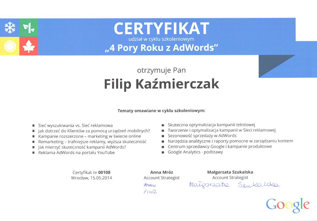 certyfikat za udział wszkoleniu