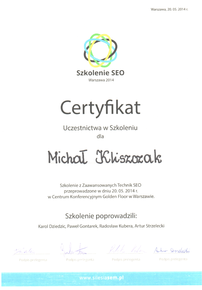 szkolenie - certyfikat