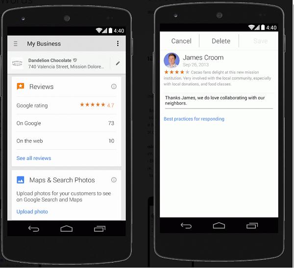 Google My Business wwersji mobilnej