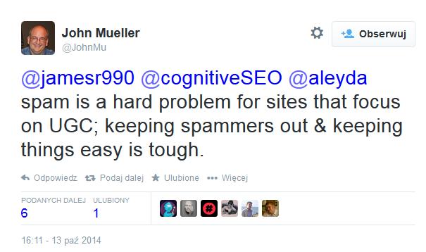 John Muller - spam na portalach UGC