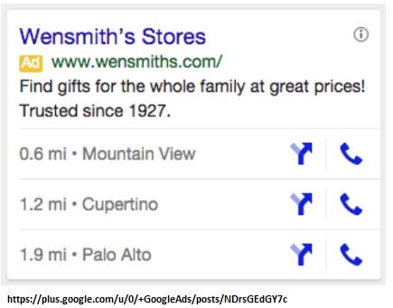 rozszerzenie lokalizacji Google Mobile Search Ads