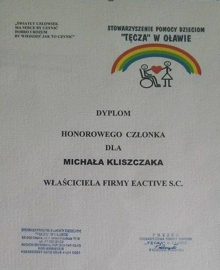 Dyplom dla Michała