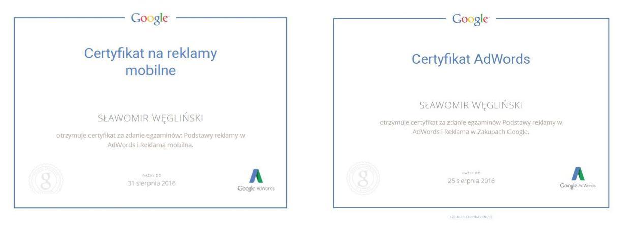 certyfikaty Sławka