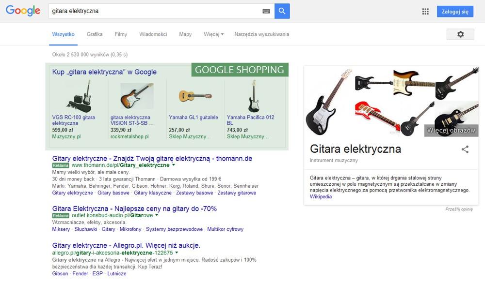 google shopping w wyszukiwarce