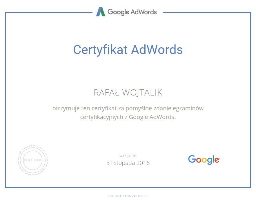 Certyfikat Podstawy AdWords Rafał