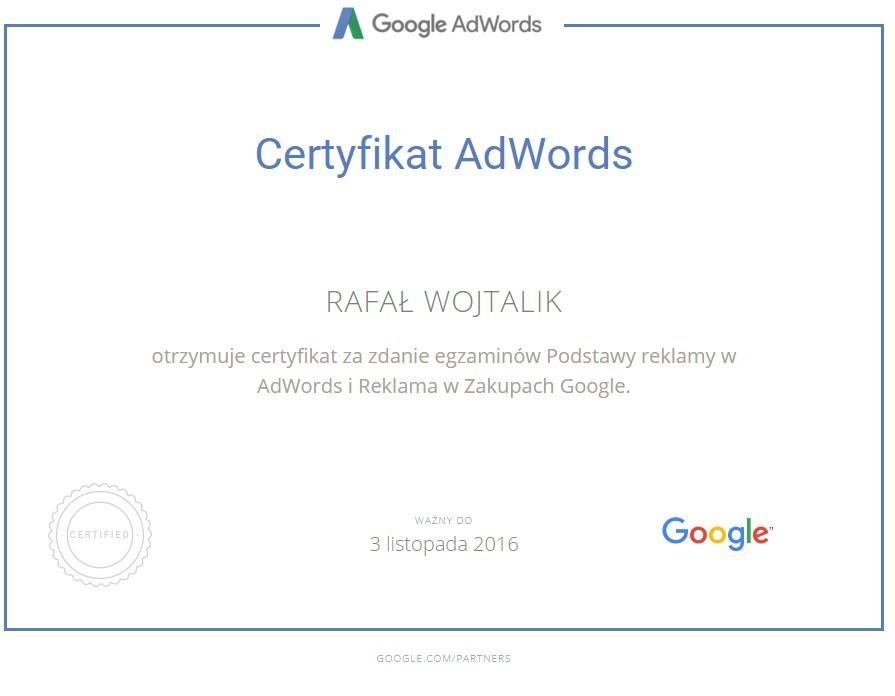 Certyfikat Zakupy Google Rafał