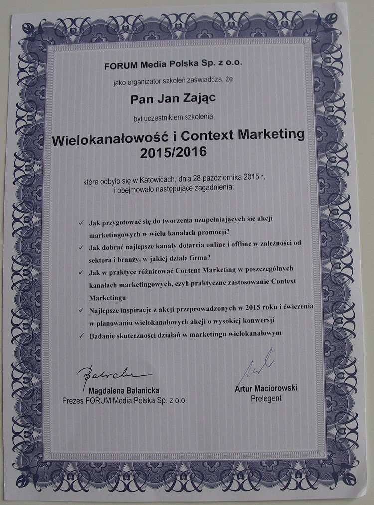 certyfikat Janka