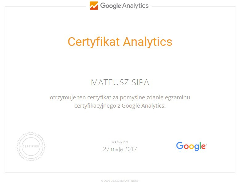 certyfikat Mateusza