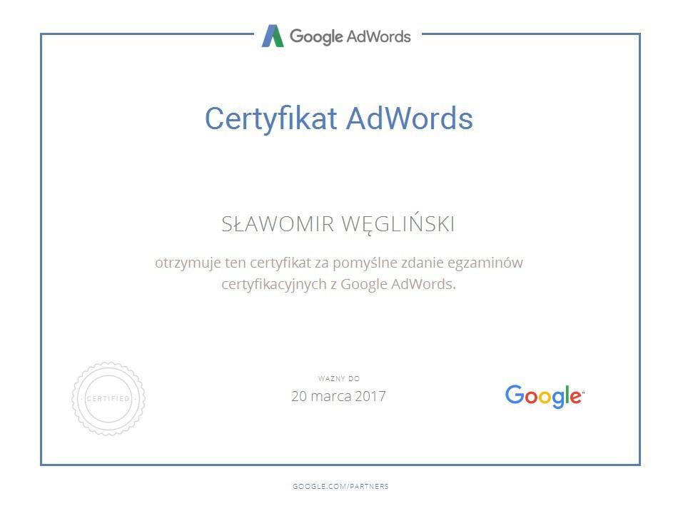 Certyfikat AdWords SławekW1