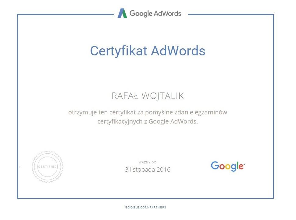 Certyfikat Adwords RafałW