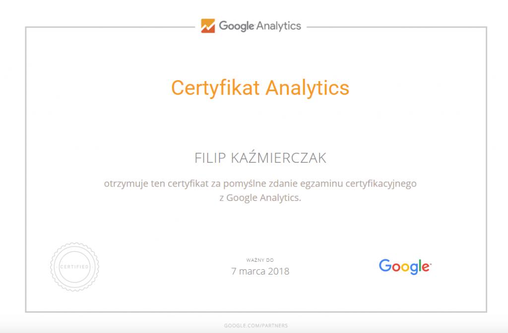 Certyfikat Analytics FilipKazimierczak