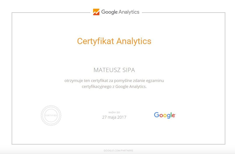 Certyfikat Analytics MateuszS