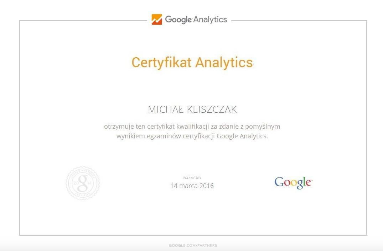 Certyfikat Analytics MichałK
