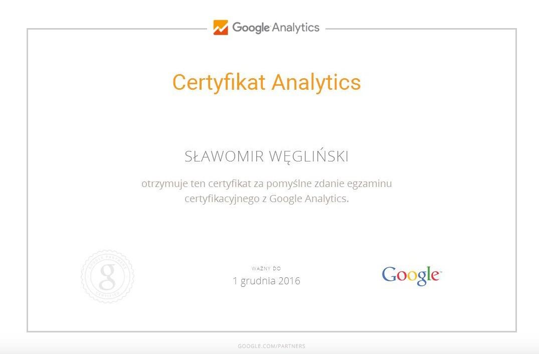 Certyfikat Analytics SławekK