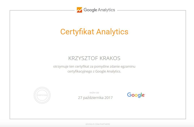 Certyfikat Google Analytics k. Krakos