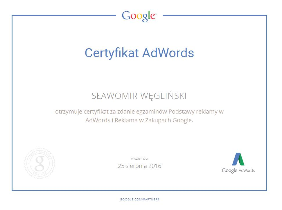 Certyfikat Google shop SławekW