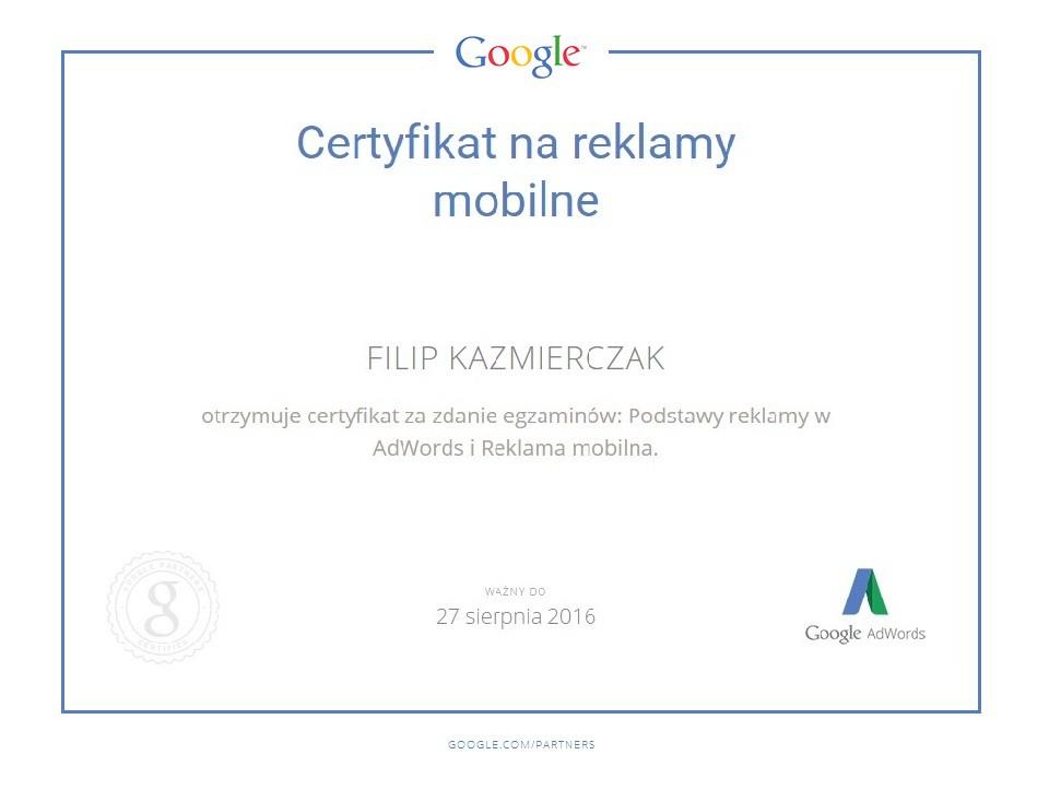 Certyfikat reklama mobilna FilipK