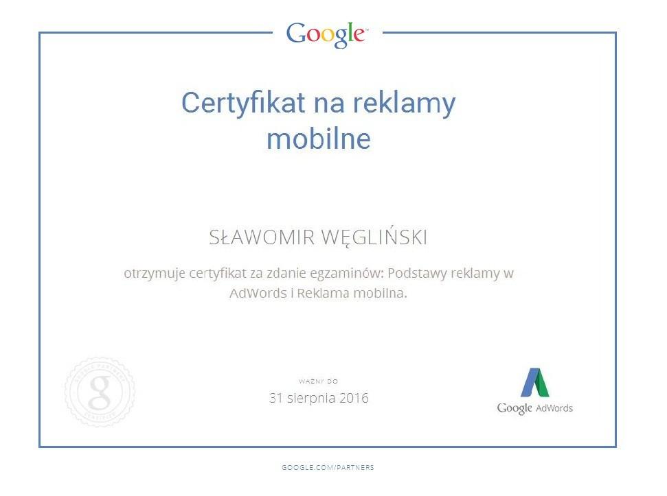 Certyfikat reklama mobilna SławekW