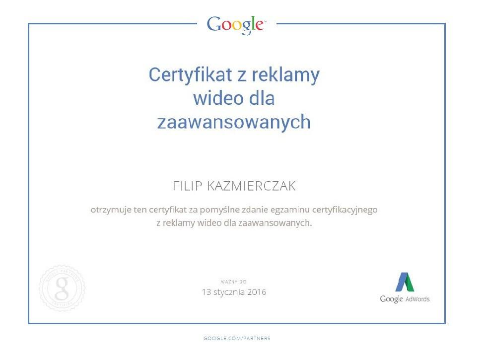 Certyfikat reklama video FilipK