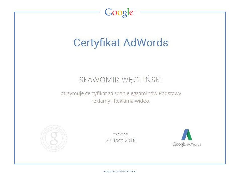 Certyfikat video SławekW
