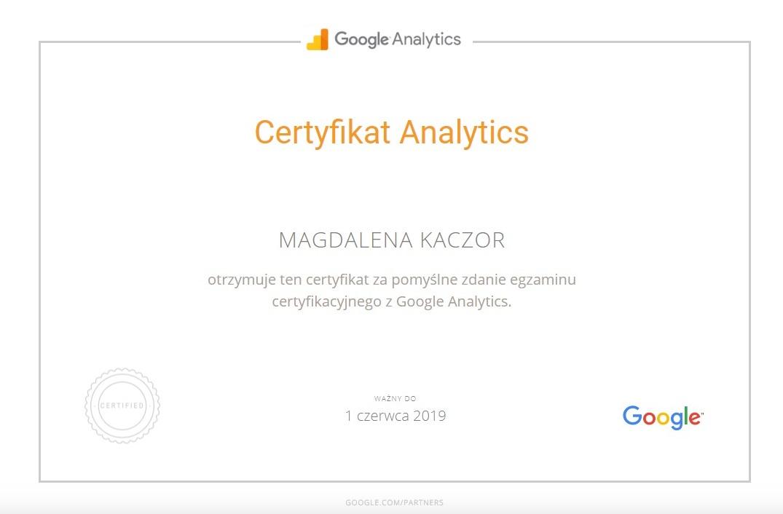 certyfikat google analytics