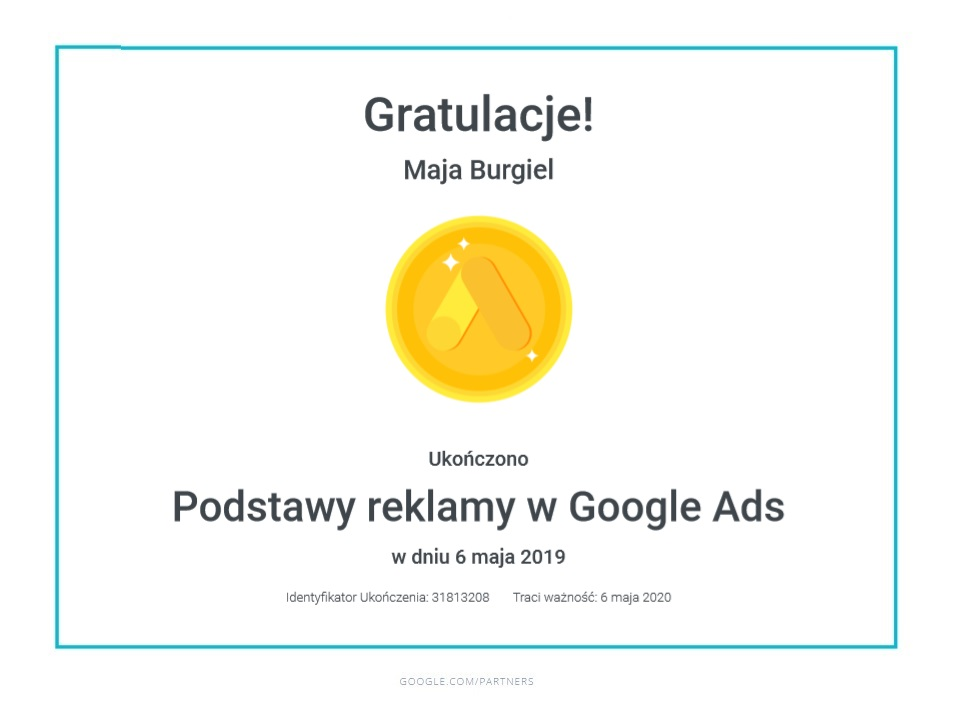 maja-certyfikat-podstawy-google-ads