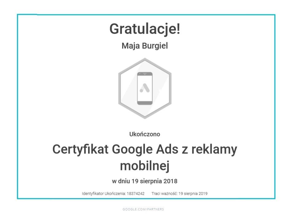maja-certyfikat-reklama-mobilna