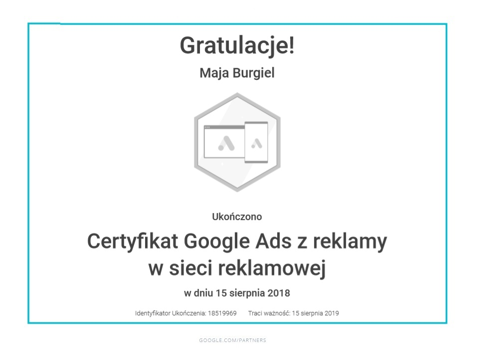 maja-certyfikat-reklama-siec-reklamowa