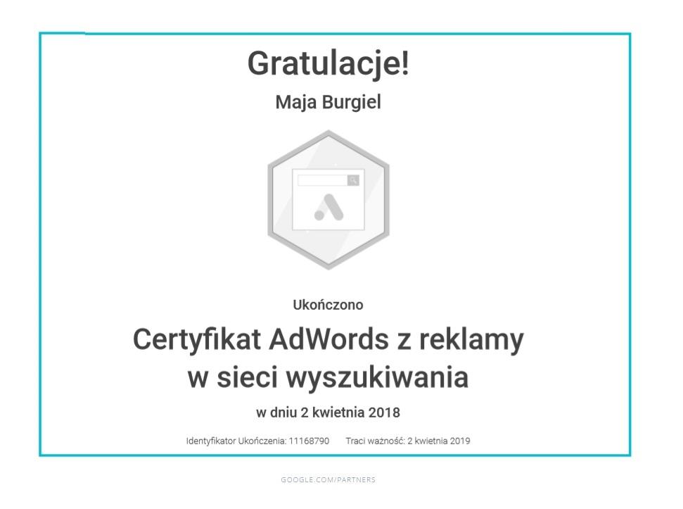 maja-certyfikat-reklama-siec-wyszukiwania