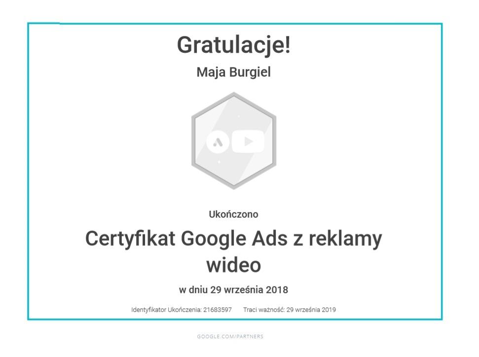 maja-certyfikat-reklama-wideo