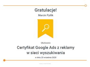 marcin-pytlik-certyfikat-z-reklamy-w-sieci-wyszukiwania