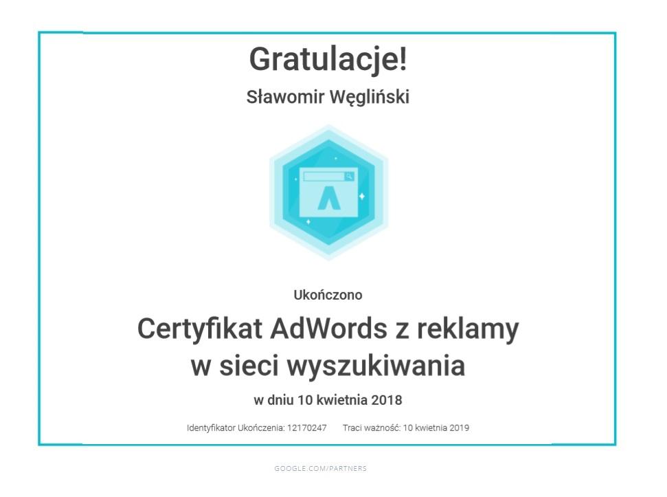 certyfikat-reklama-siec-wyszukiwania-slawek