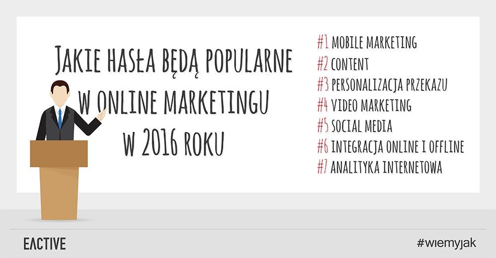 Najpopularniejsze trendy marketingu internetowego w2016 roku