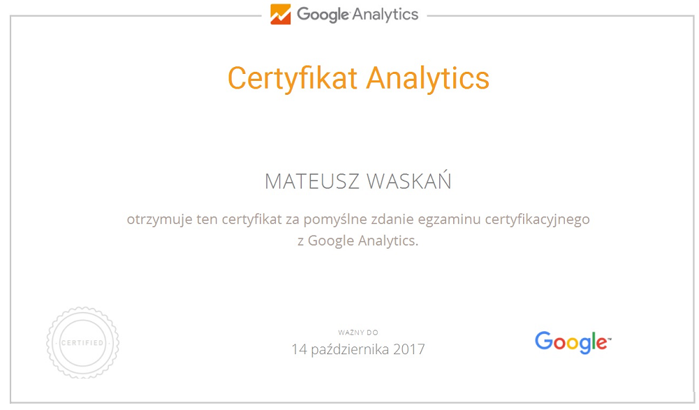 Google Analytics certyfikat