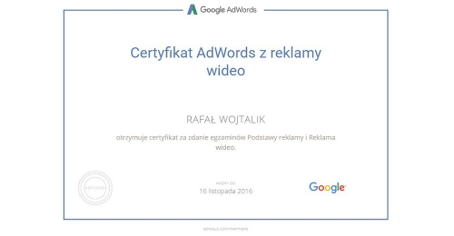certyfikat-reklama-wideo-rafal-wojtalik