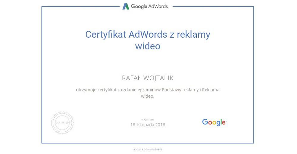 certyfikat z reklamy wideo