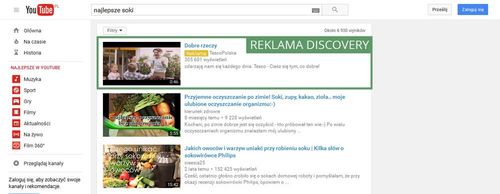 reklama true view discovery