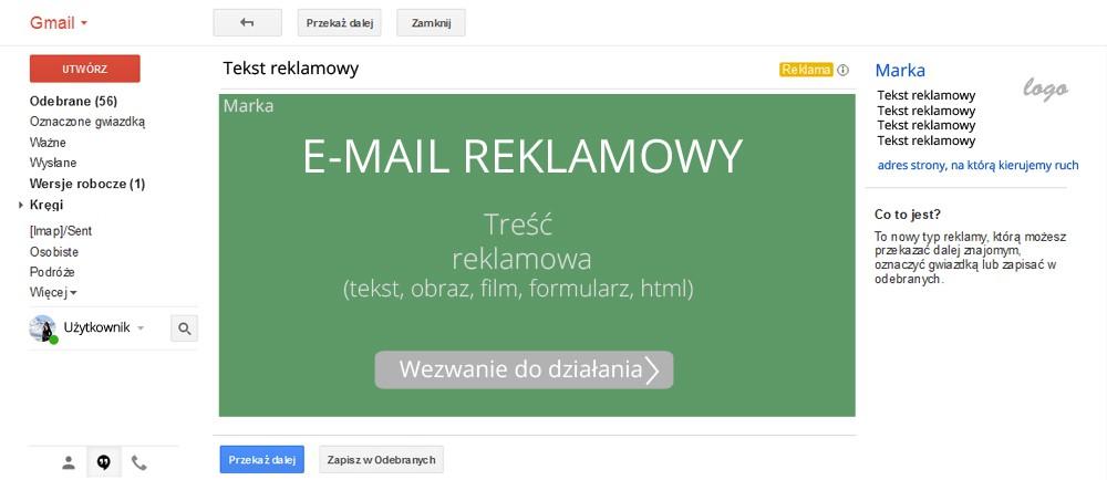 e-mail reklamowy w gmailu