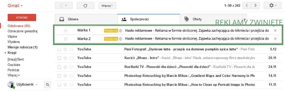 przykład reklamy w gmailu