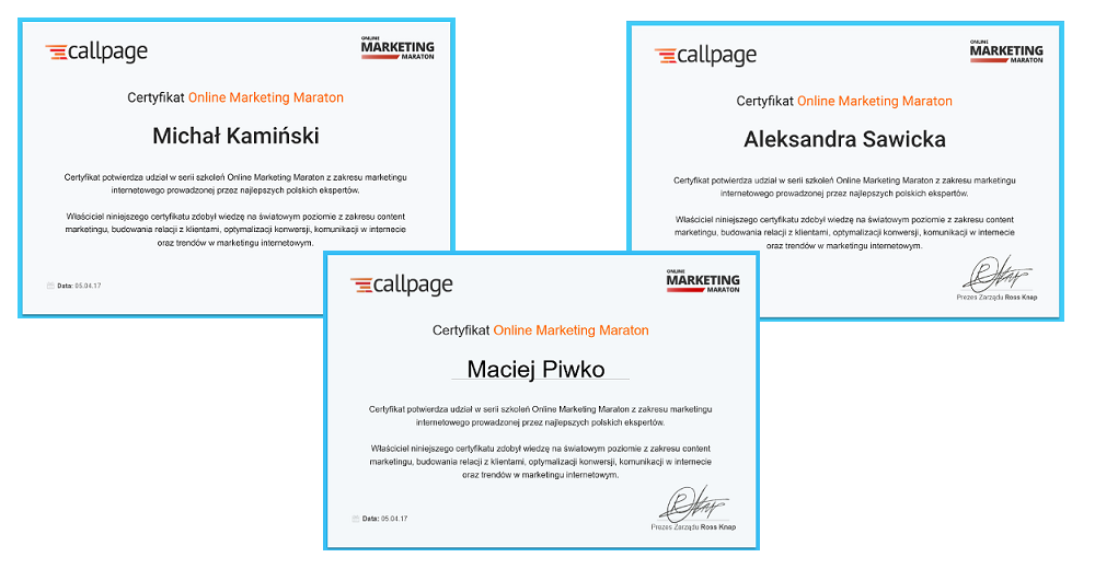 certyfikaty online marketing