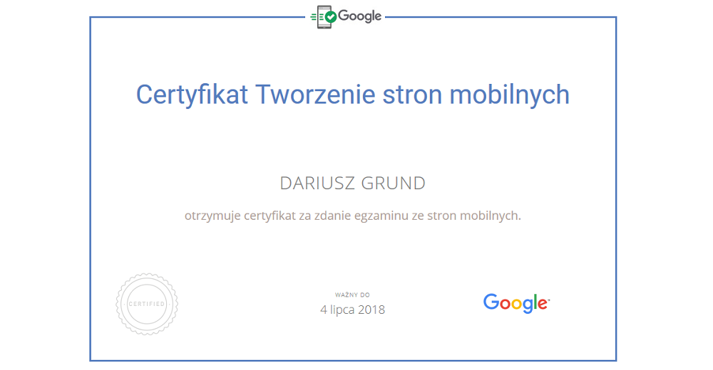 Darek Grund Certyfikat