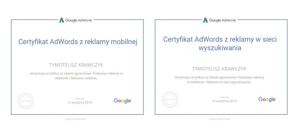 certyfikaty adwords