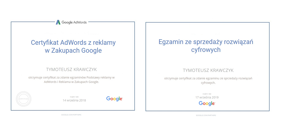 certyifkaty adwords