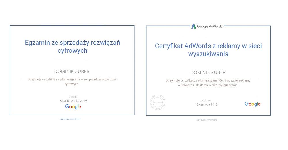 certyfikaty adwords dominika